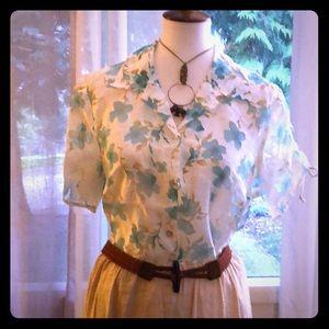 Susan Graver -  sheer tie sleeve blouse - size L